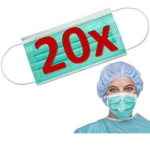 20x RESCH OP Mundschutz Maske - EINWEGMASKEN - EN 14683 - TESTSIEGER 2020 - Maske Atemschutz Mundmaske Hygienemaske Atemschutzmaske zur Prophylaxe, grün oder weiss