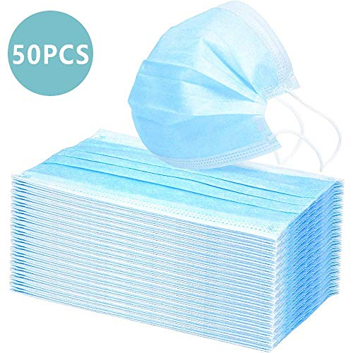 50000pcs Einweg OP-Maske Gesichtsmaske 3-lagig Mundschutz Staubschutz Infektionsschutz Schutzmaske Atemschutzmaske mit Ohrschlaufen schützt vor Verschmutzungen (Blau)