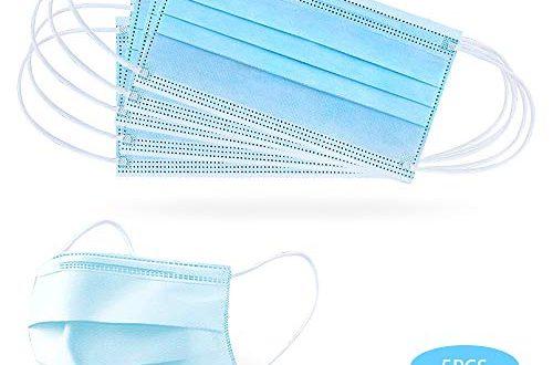 GerTong Einweg Gesichtsmaske 3-lagig Mundschutz Staubschutz Schutzmaske Atemschutzmaske mit Ohrschlaufen schützt vor Verschmutzungen (Blau,5 Stück)