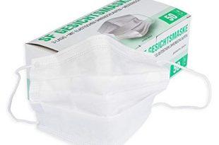 mundschutz maske mit elastischen ohrschlaufen weiss 3 lagig ohne gurtband 50 stueck box 310x205 - Mundschutz Maske mit elastischen Ohrschlaufen weiß 3-lagig, ohne Gurtband, 50 Stück Box