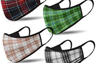 Mundschutz Maske mit Motiv – 4er Baumwoll Masken bunt, lustig, komisch – für Männer, Frauen & Kinder
